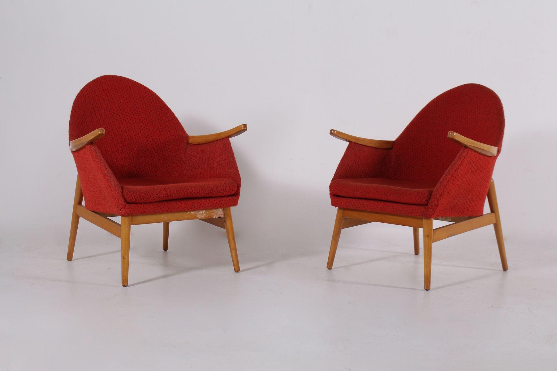 rote sessel 1950er 2er set bei pamono kaufen. Black Bedroom Furniture Sets. Home Design Ideas