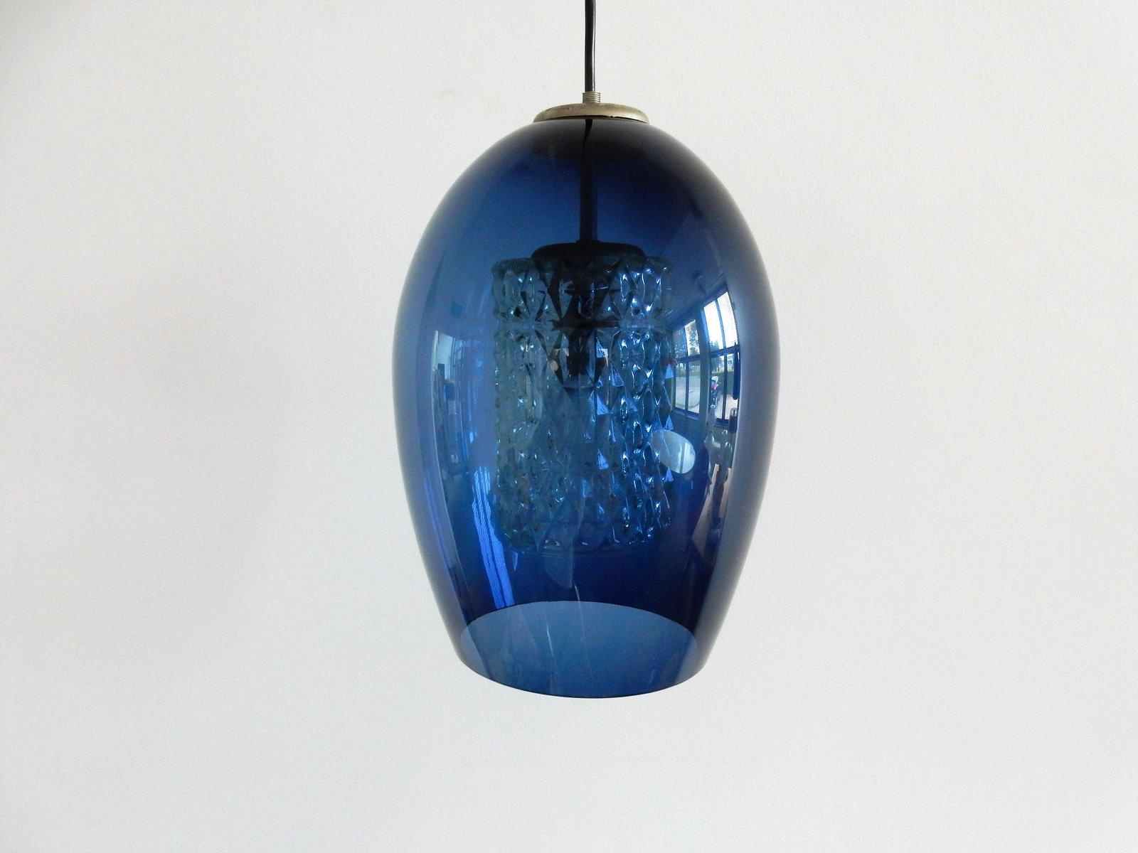 Blaue Mid-Century Hängelampe aus Glas