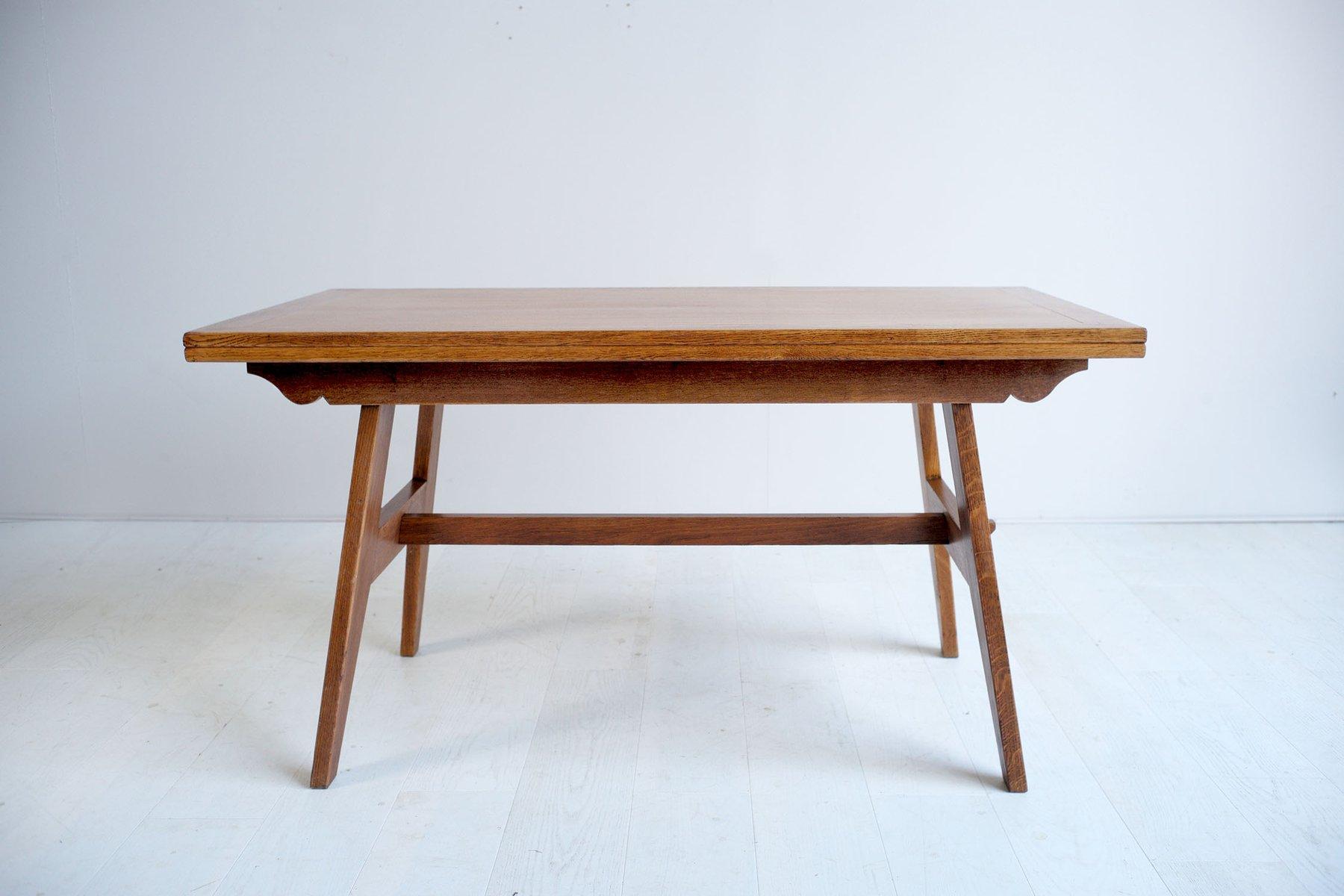 MidCentury Oak Dining Table By René Gabriel S For Sale At Pamono - Mid century oak dining table