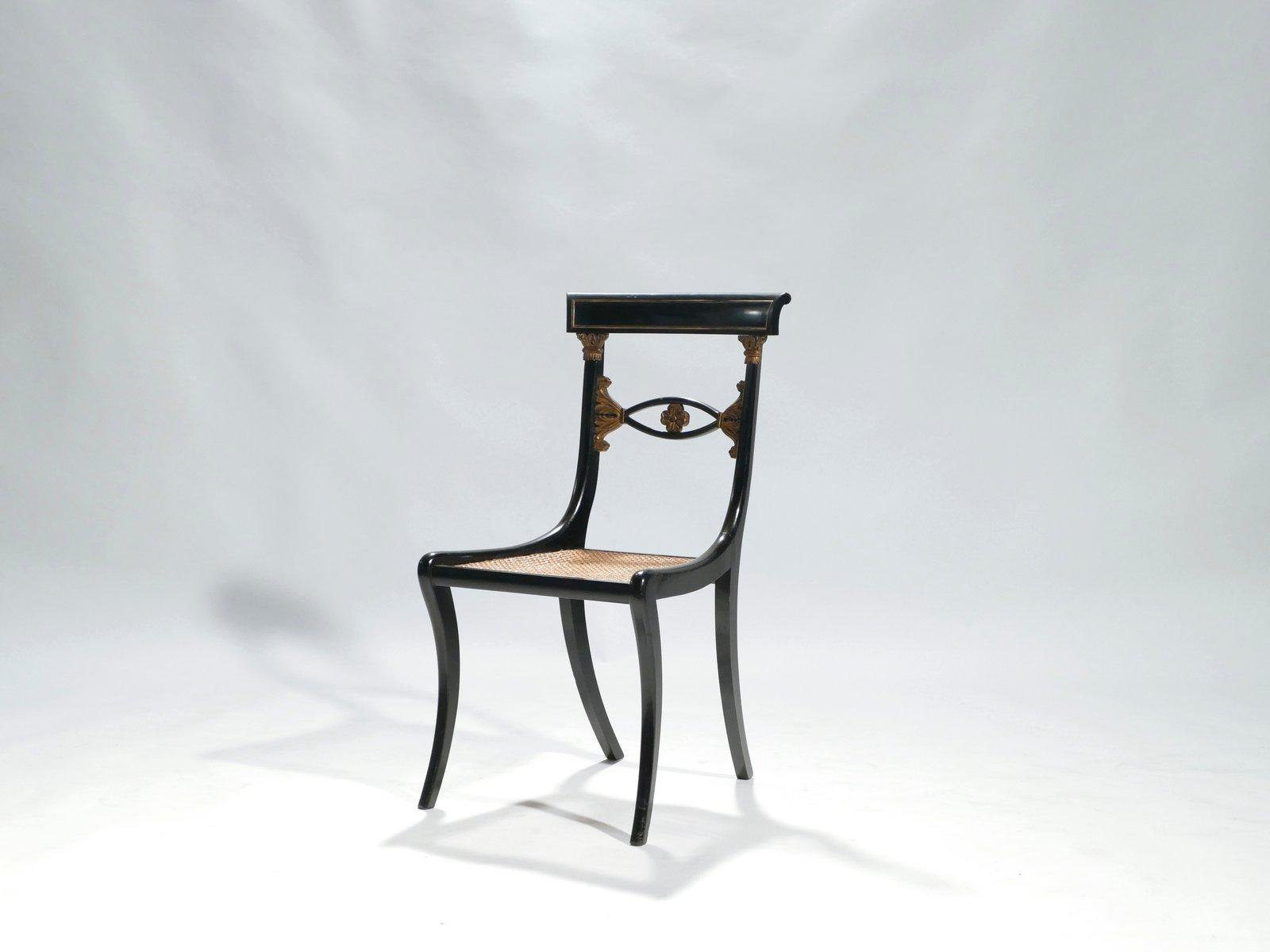 st hle in schwarz gold mit geflecht 1940er 6er set bei On stühle in schwarz