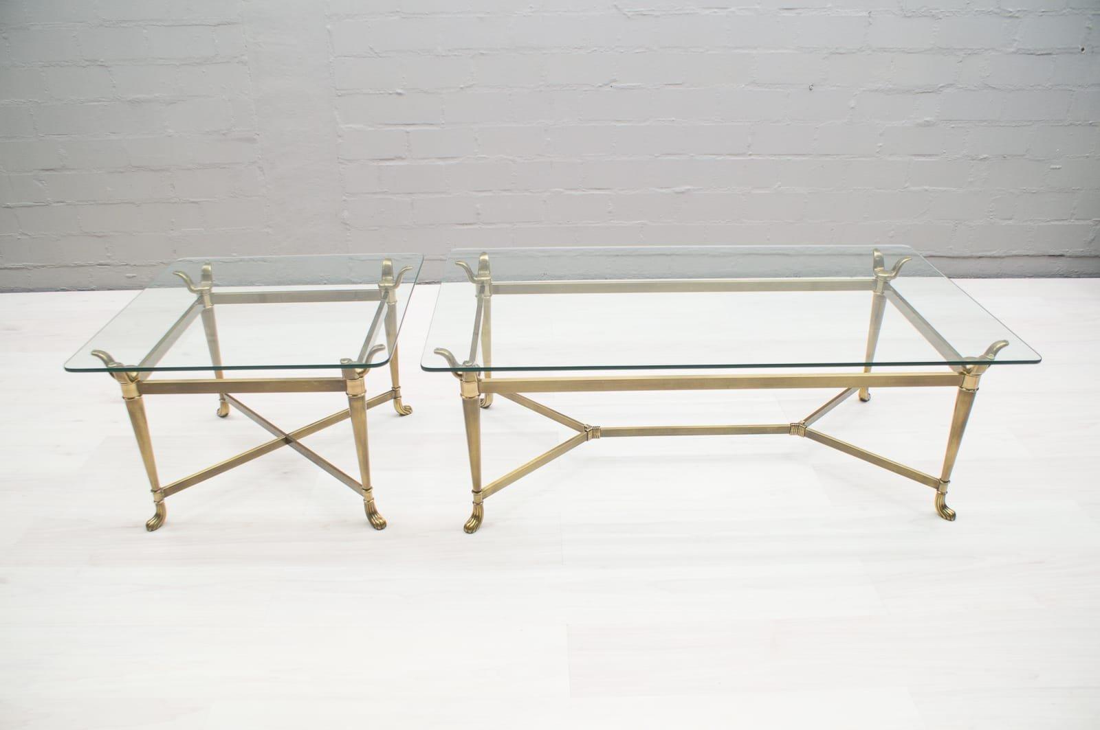 Tavoli moderni in ottone e vetro, Italia, anni \'80, set di 2 in ...