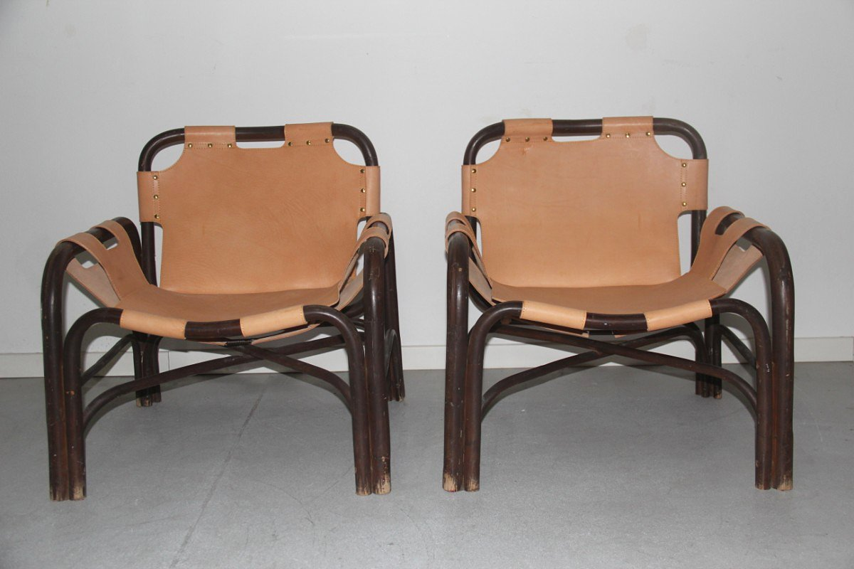 Sessel aus Bambus & Leder von Tito Agnoli für Vittorio Bonacina, 1960,...