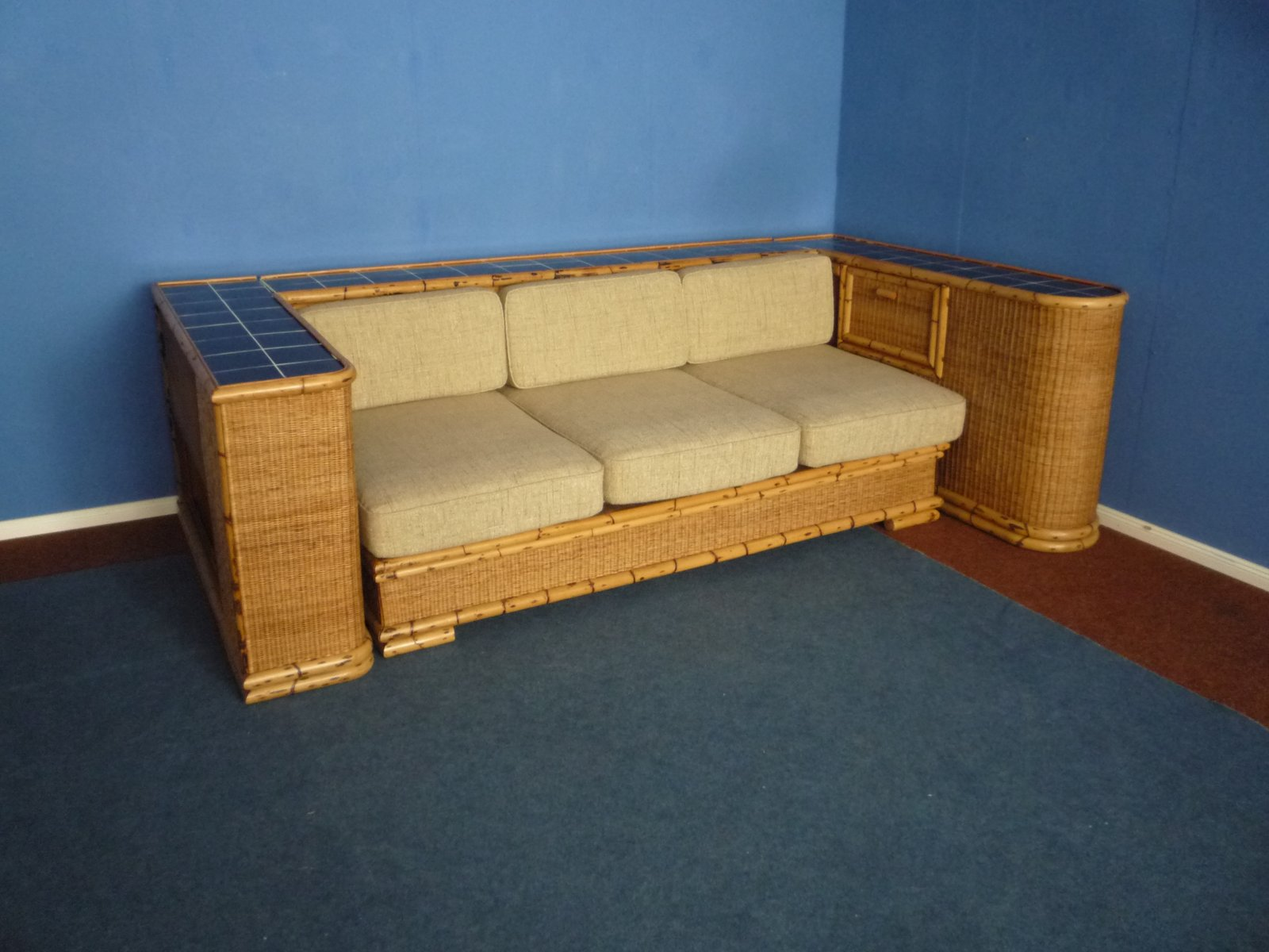 deutsches art deco sofa aus rattan bambus von arco 1940er bei pamono kaufen. Black Bedroom Furniture Sets. Home Design Ideas