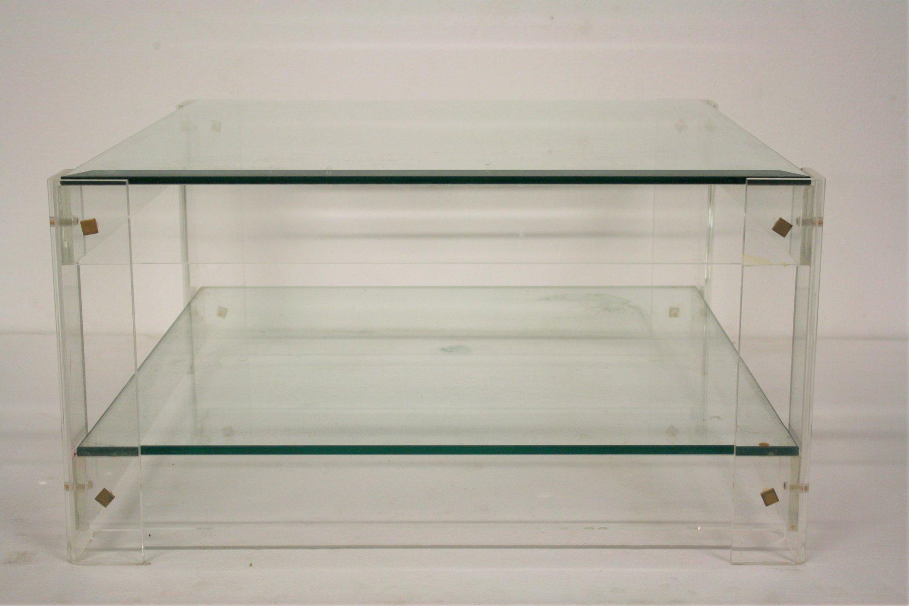 Vintage Couchtisch aus Plexiglas & Glas, 1970er