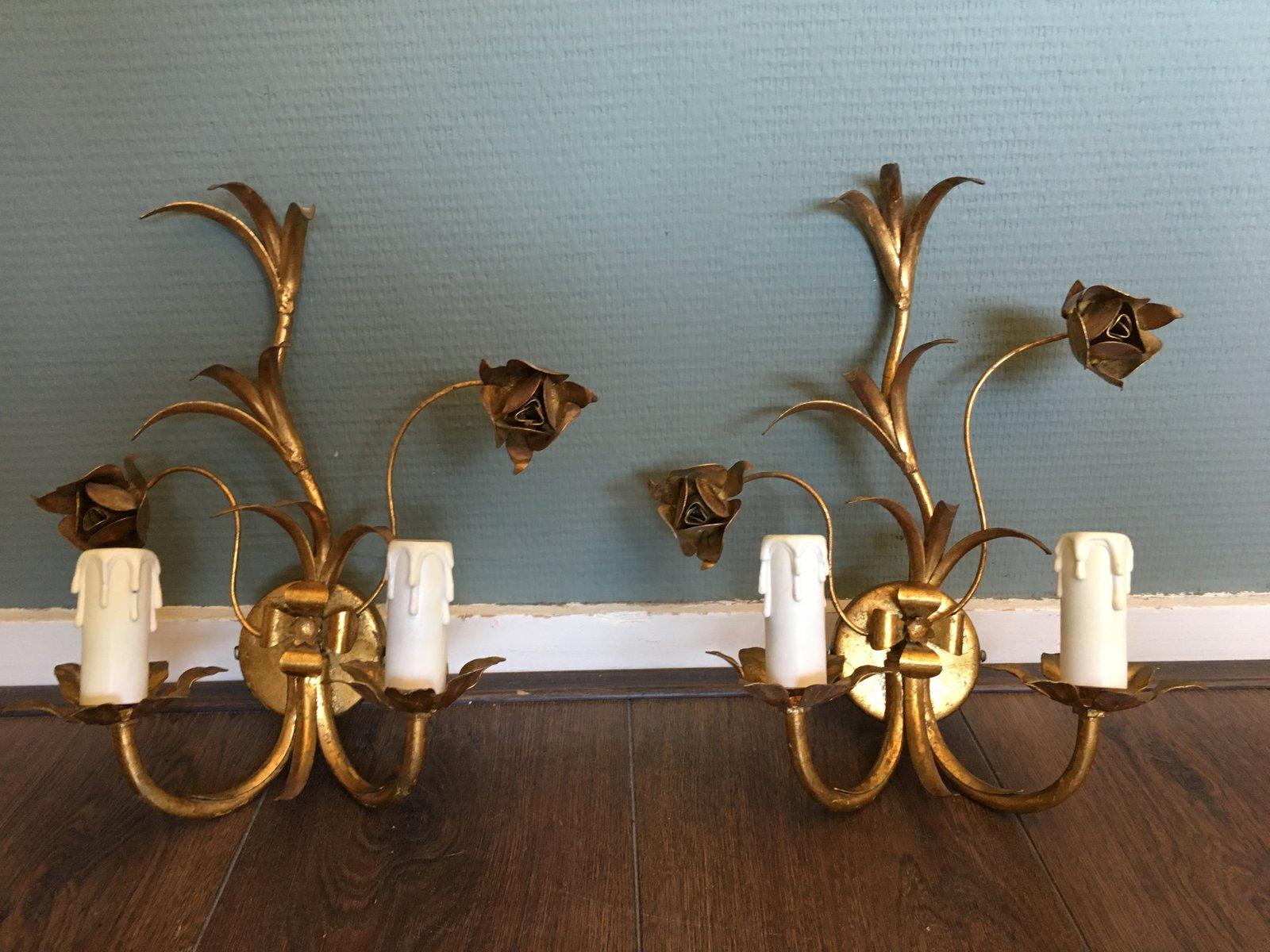 Hollywood Regency Wandleuchten aus vergoldetem Metall, 2er Set