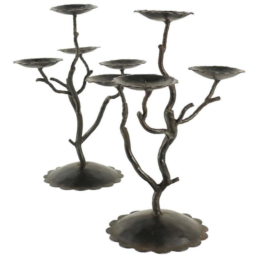 kerzenhalter aus metall 1980er 2er set bei pamono kaufen. Black Bedroom Furniture Sets. Home Design Ideas