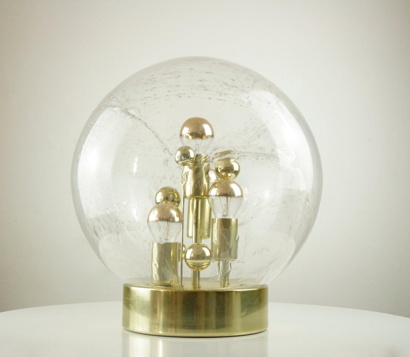 Große Space Age Tischlampe mit Glaskugel von Doria Leuchten, 1970er