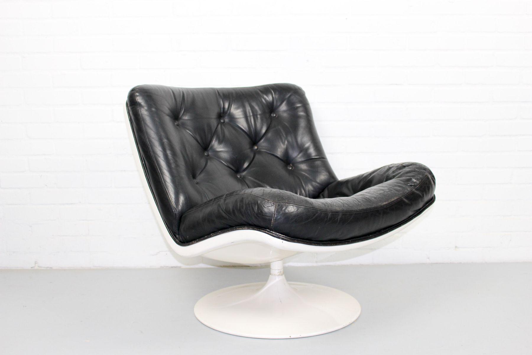 Sessel aus schwarzem Leder von Geoffrey Harcourt für Artifort, 1960er