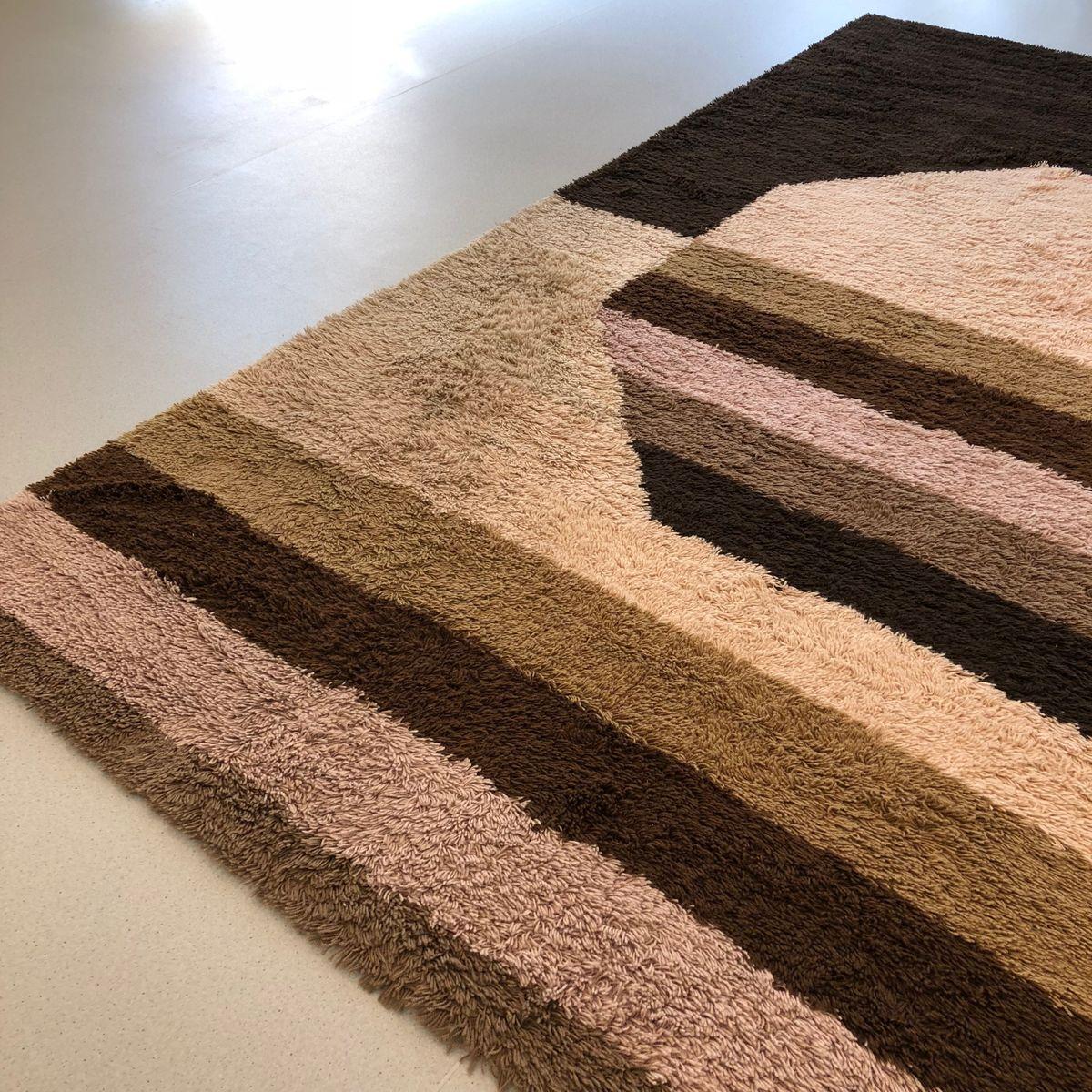 gro er hochfloriger vintage teppich in kubischer optik von desso 1970er bei pamono kaufen. Black Bedroom Furniture Sets. Home Design Ideas