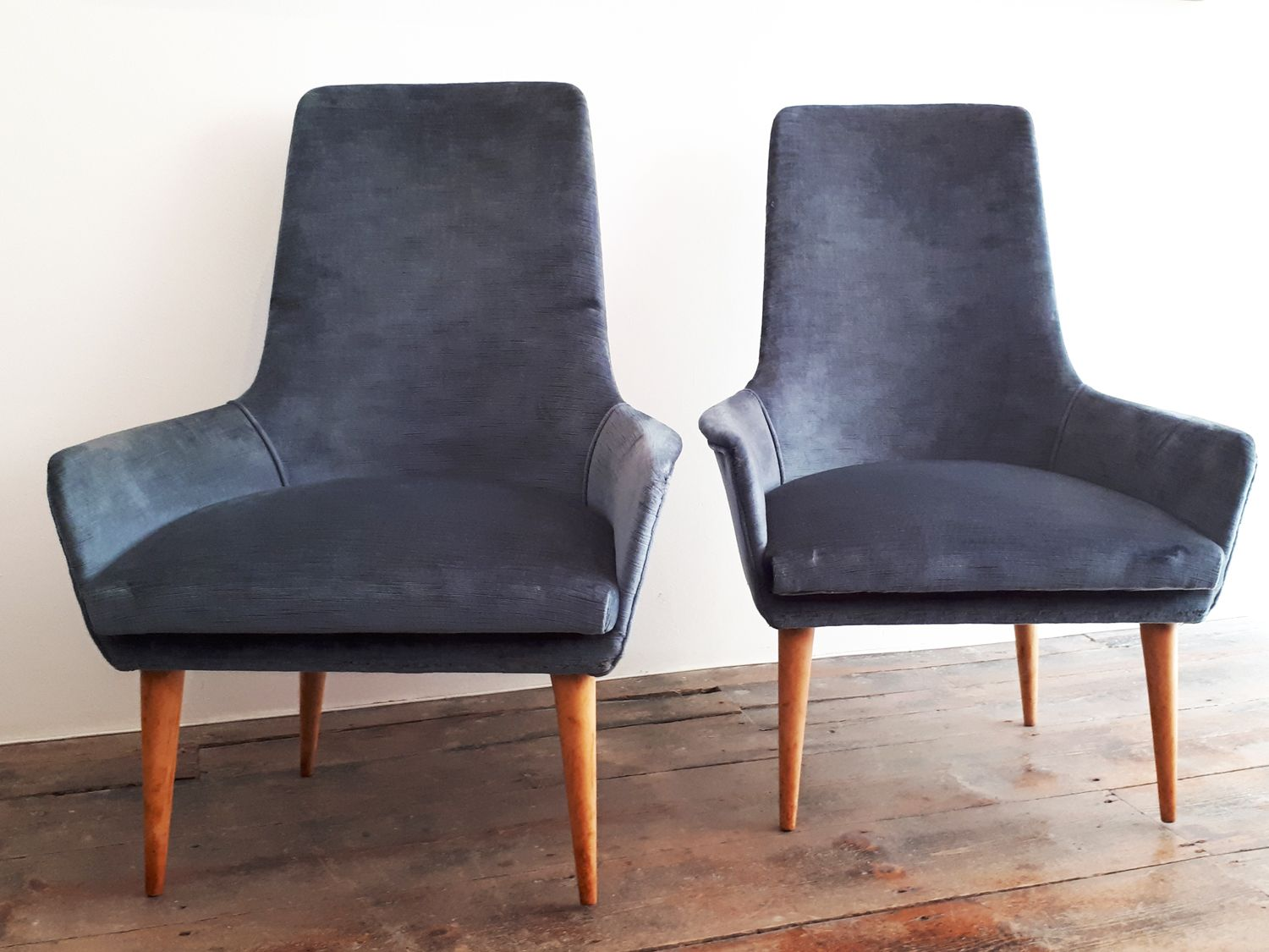 High Back Club Chairs 1950s Set Of 2