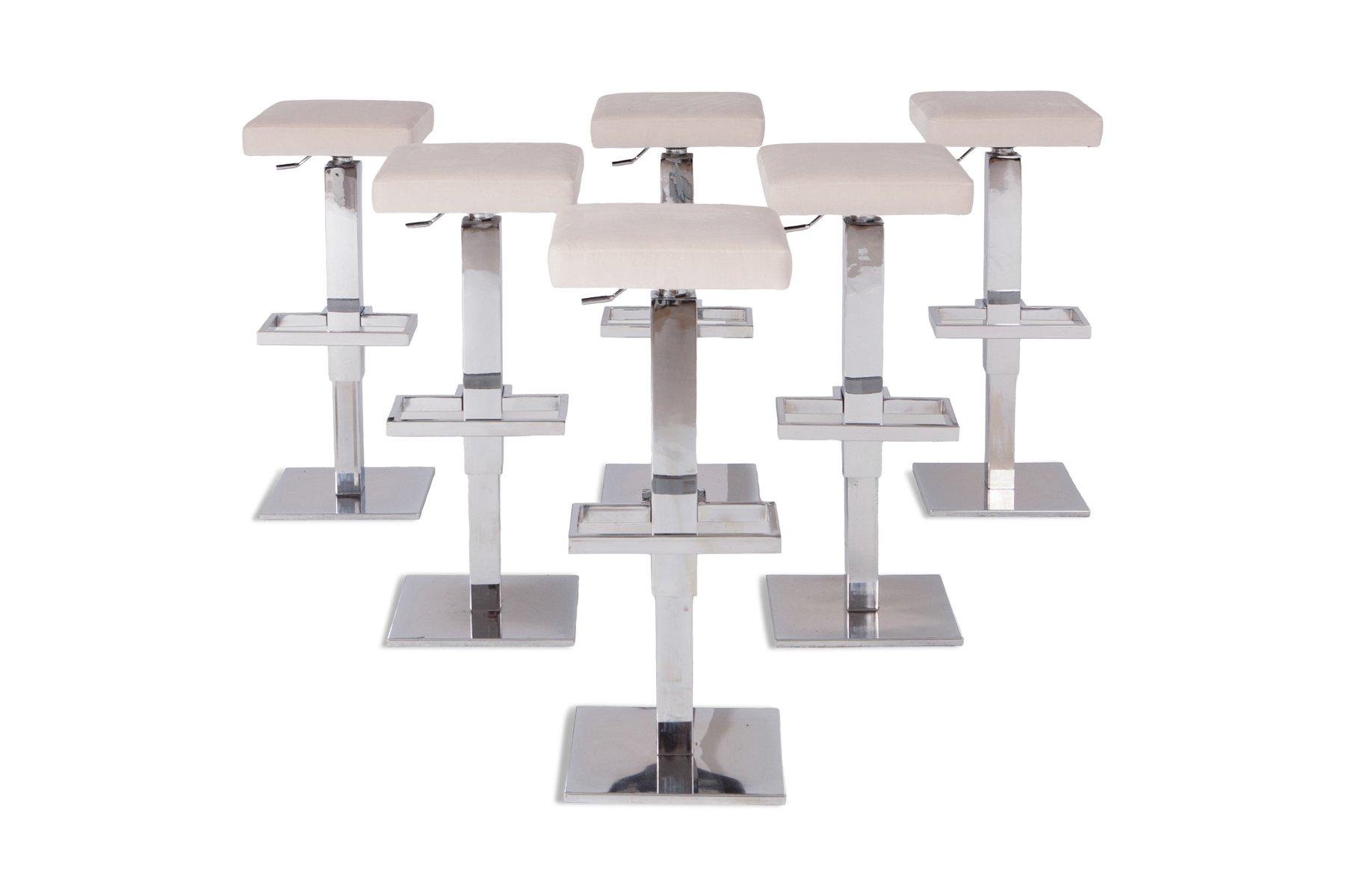 Sgabelli Da Bar Regolabili : Sgabelli da bar regolabili in acciaio cromato e velluto bianco di