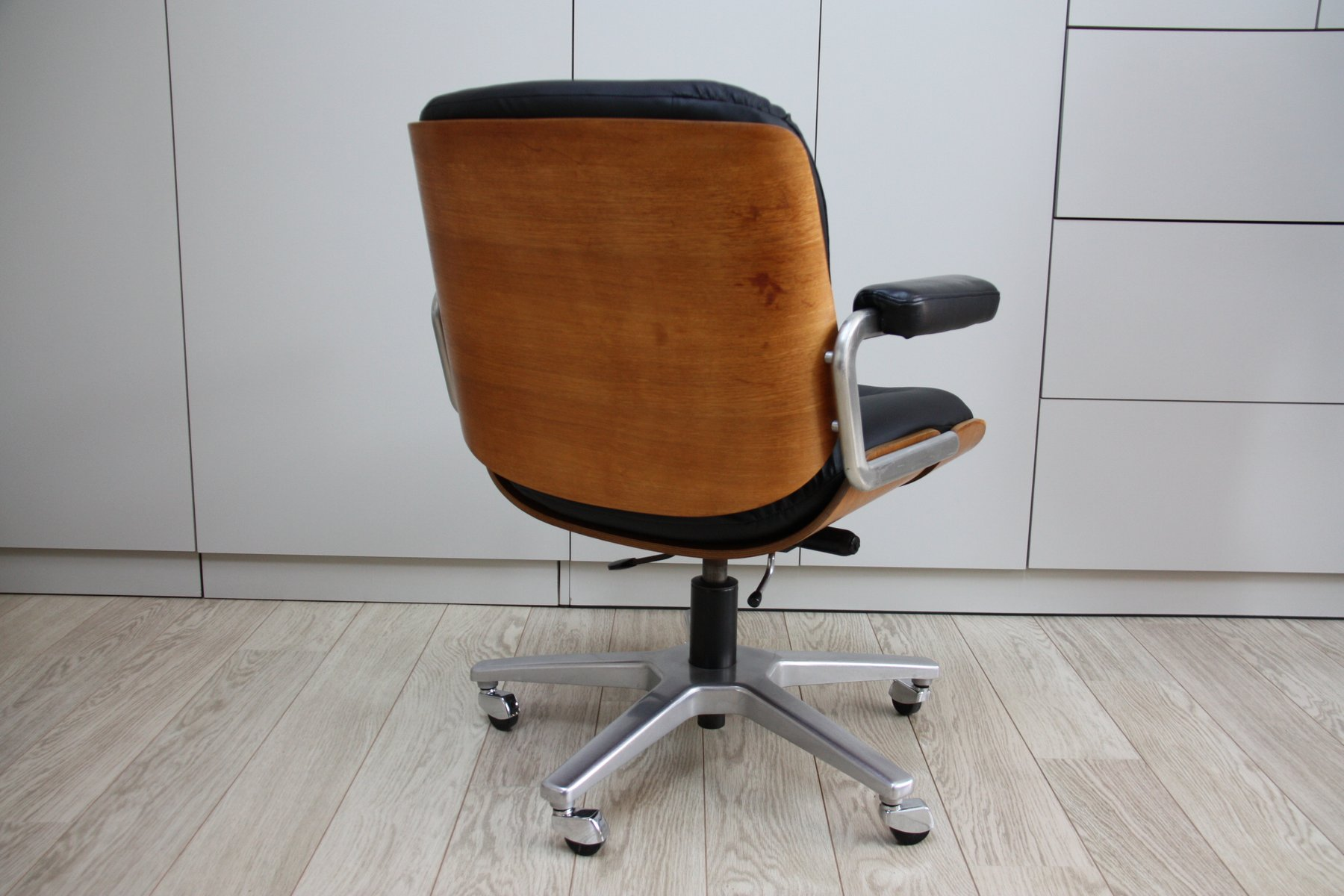 Vintage Swivel Office Chair In Black Leather U0026 Wood By Karl Dittert For  Giroflex 1960s Wooden Swivel Desk Chair H8