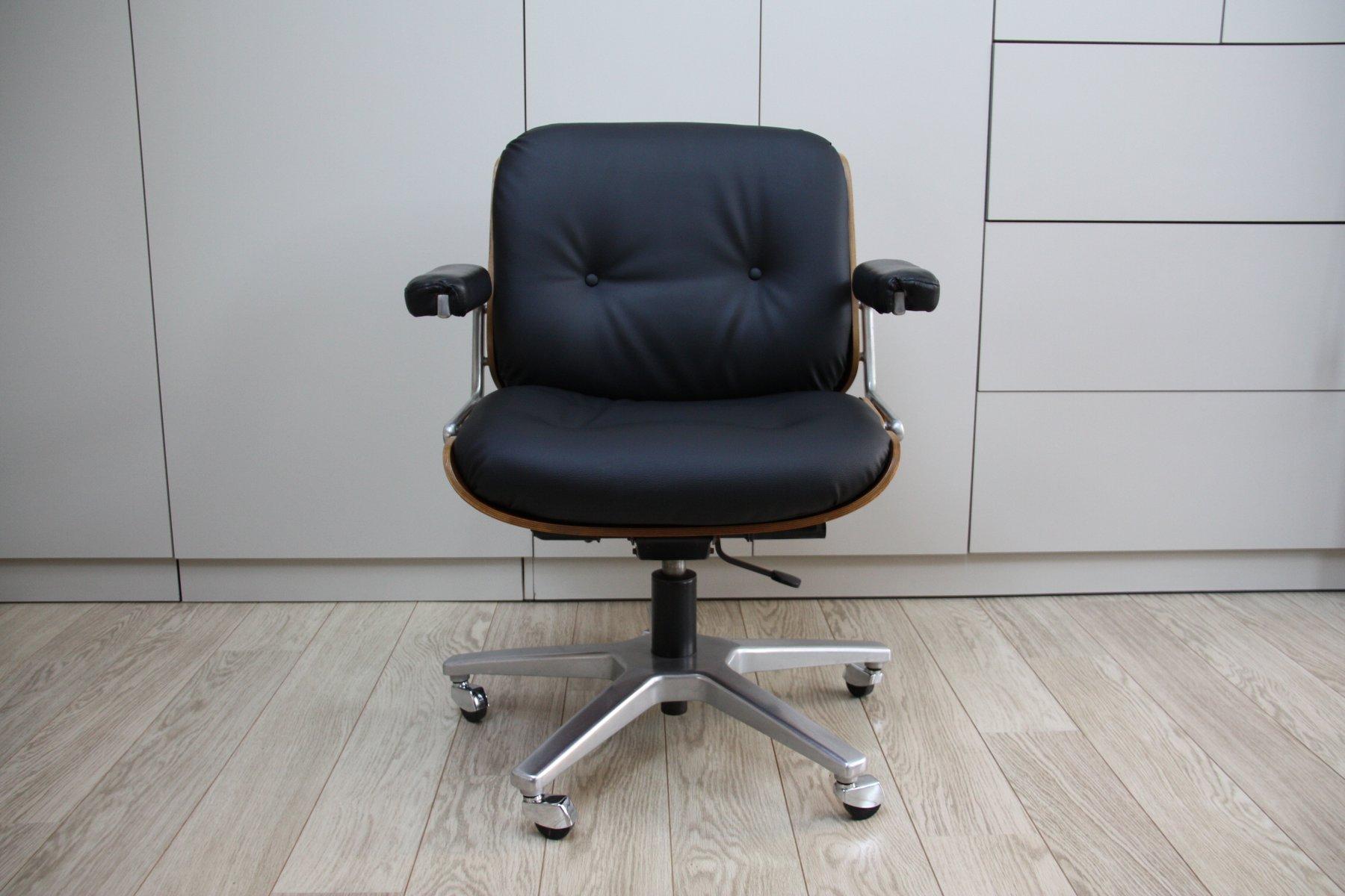 Sedie Da Ufficio In Pelle : Sedia da ufficio vintage girevole in pelle nera e legno di karl