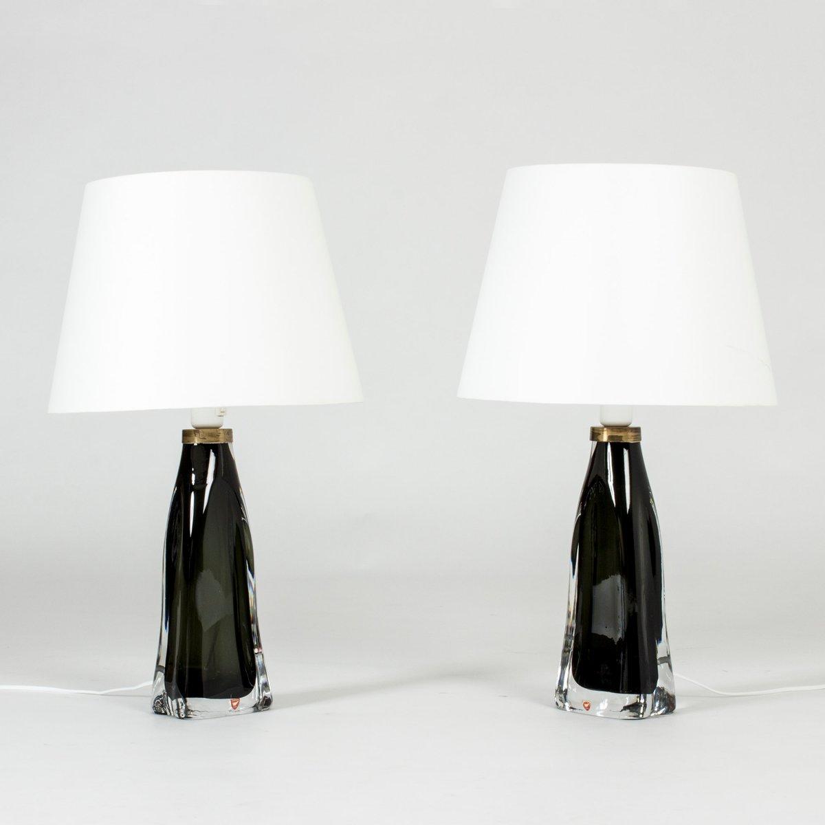 Schwedische Tischlampen Aus Glas Von Carl Fagerlund Für Orrefors, 1950er,  2er Set