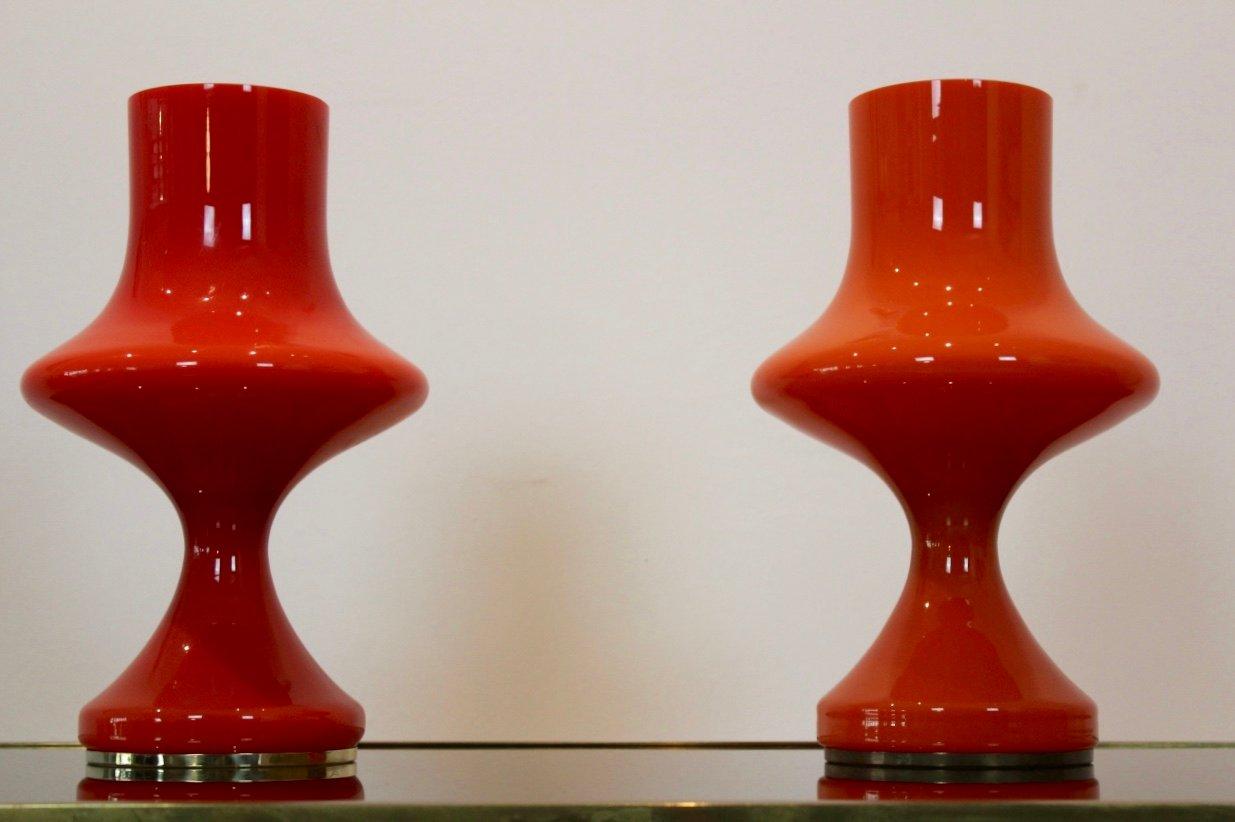 Tischlampen aus orangefarbenem Opalglas von Štepán Tabery für OPP Jihl...