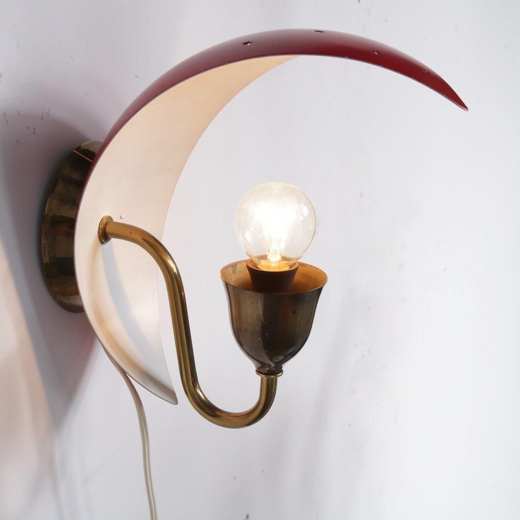 Wandlampe aus Metall & Messing, 1950er