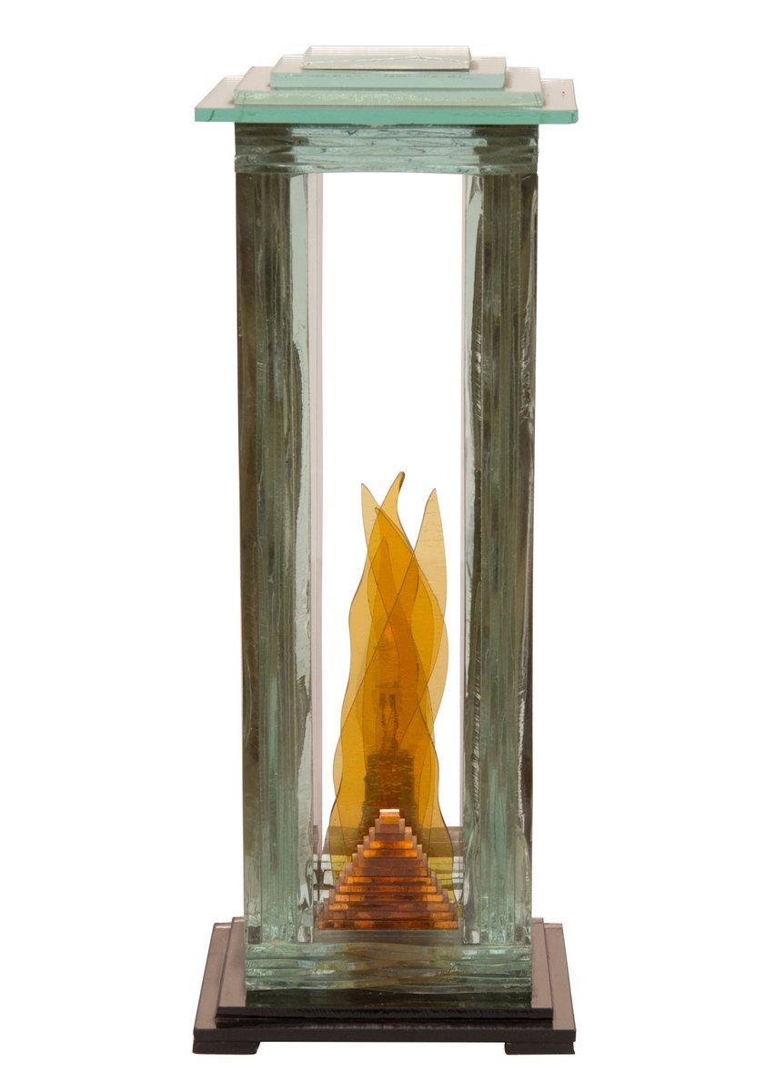 Italienische Glasskulptur Tischlampe, 1980er
