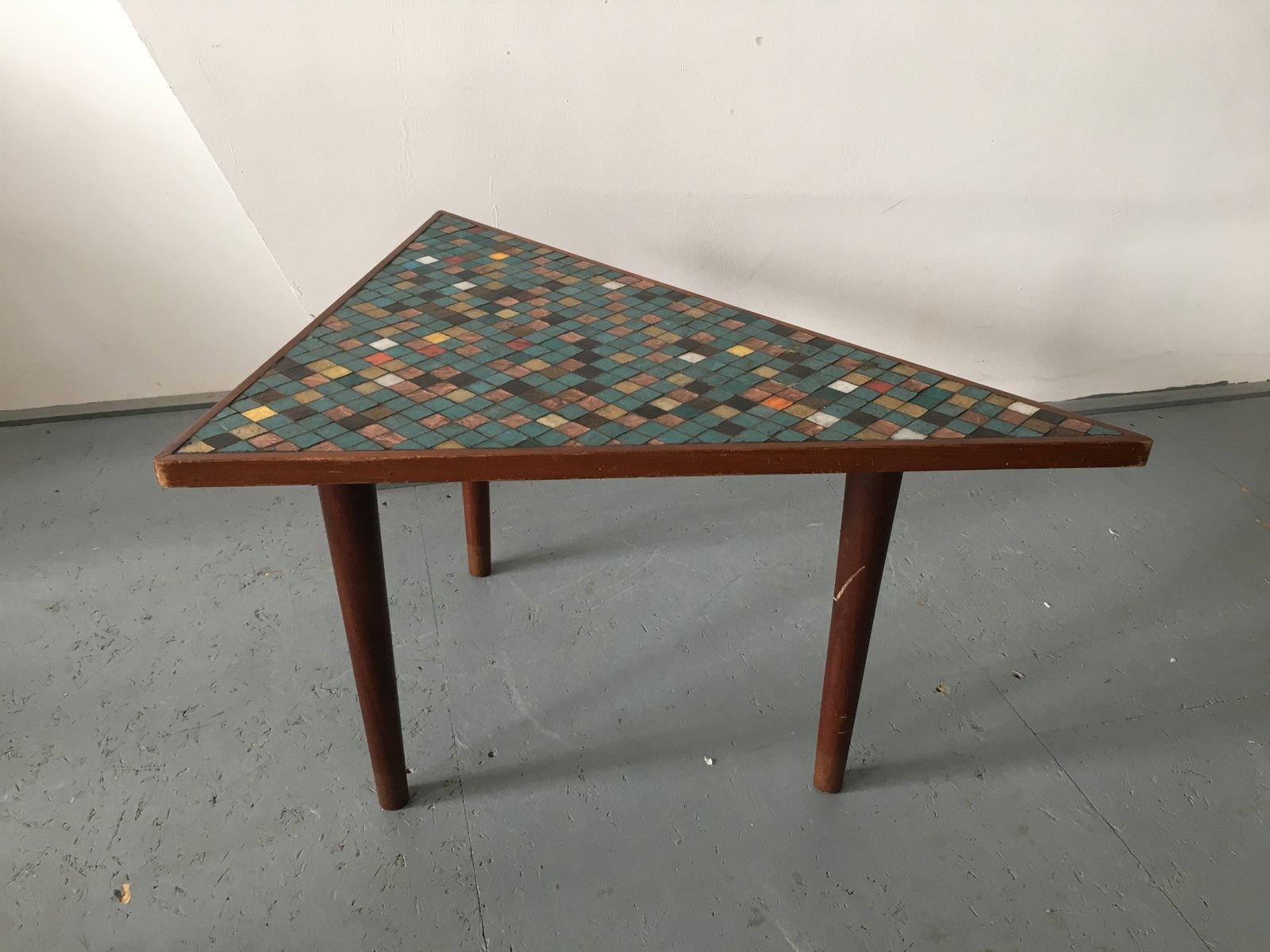 Vintage Couchtisch aus Holz & Mosaik