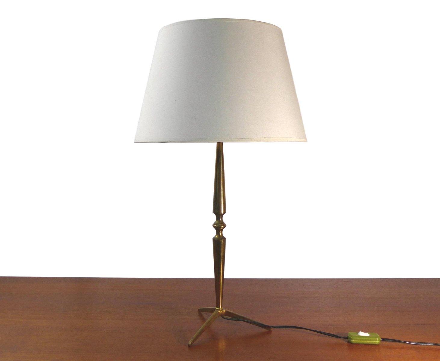 Goldene dreibeinige Tischlampe aus Messing, 1960er