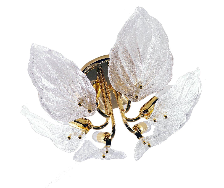 Vintage Lampe aus Muranoglas in Blätter-Optik von Novaresi