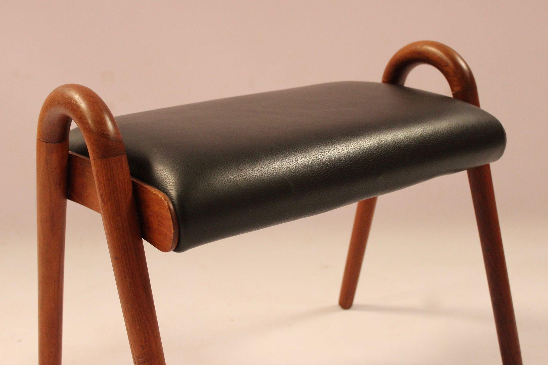 hocker aus teak schwarzem leder von vilhelm lauritzen 1960er bei pamono kaufen. Black Bedroom Furniture Sets. Home Design Ideas