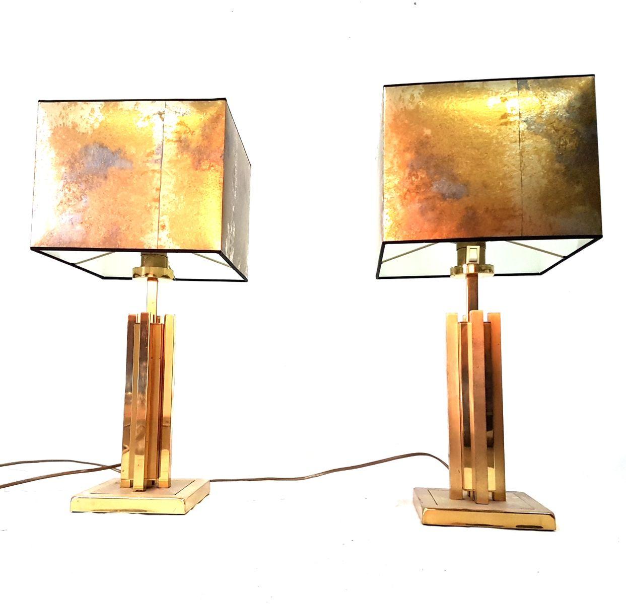 Tischlampe aus Messing, 1970er, 2er Set