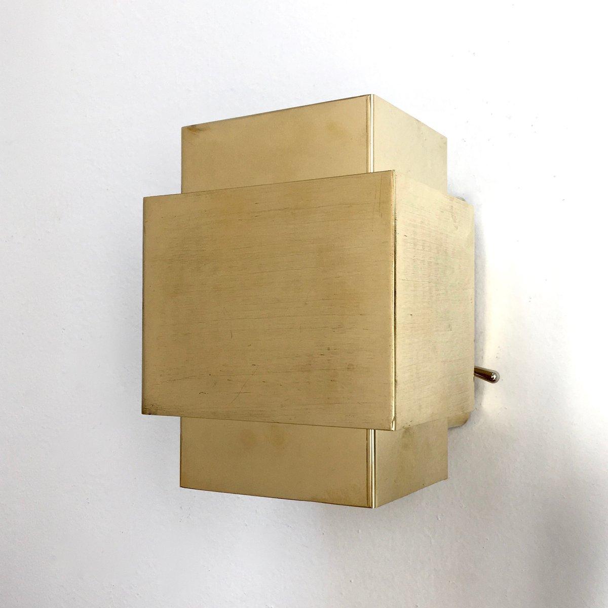 Würfelförmige Wandlampe aus Messing, 1960er