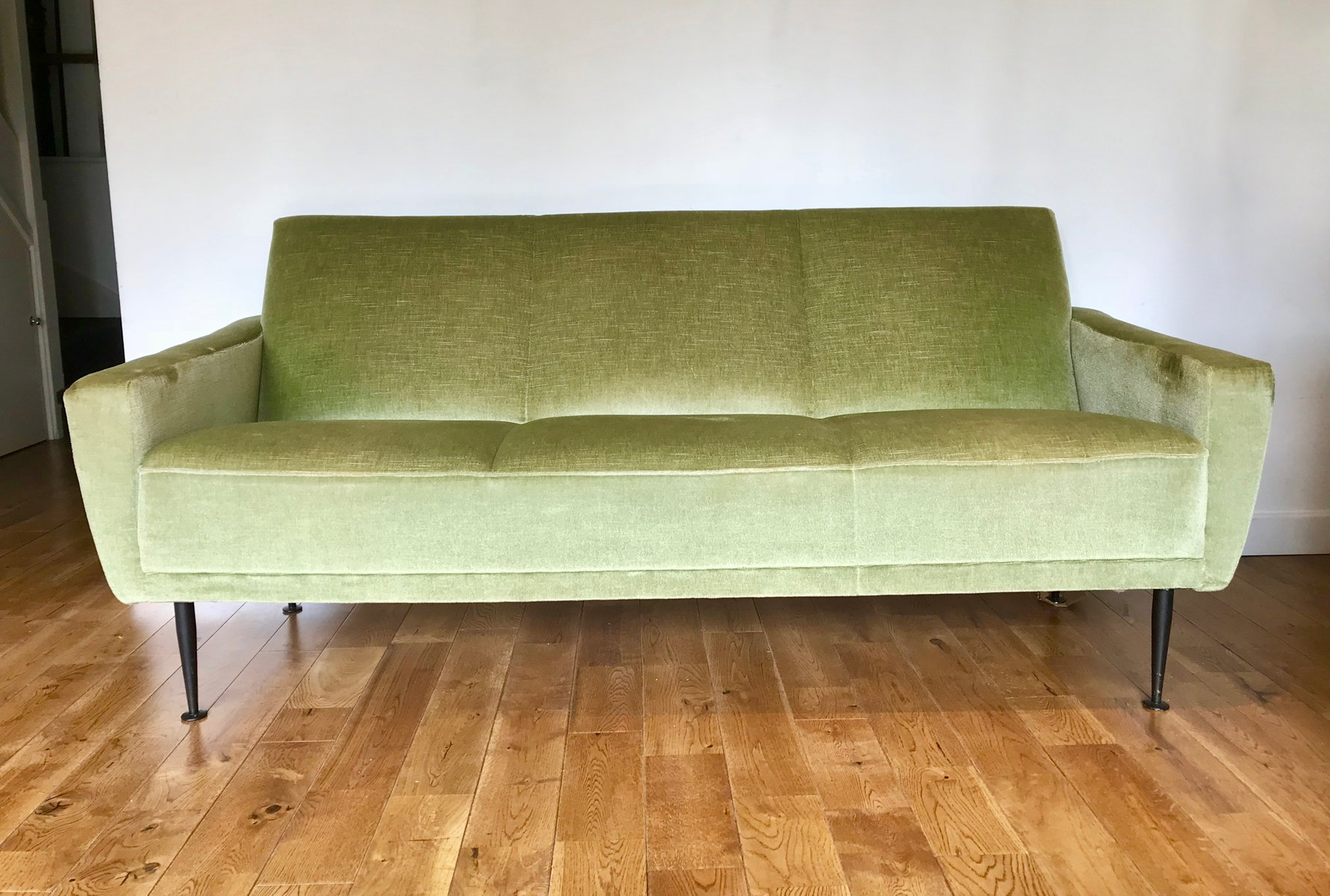Vintage Green Velvet 3 Seater Sofa
