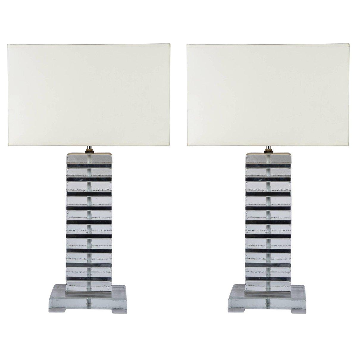 Italienische Lampen aus Muranoglas & verchromtem Metall, 1980er, 2er S...