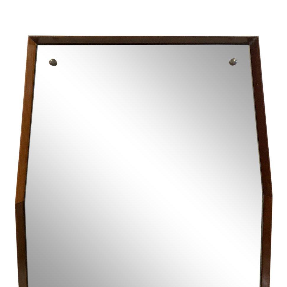 achteckiger italienischer spiegel mit holzrahmen 1960er. Black Bedroom Furniture Sets. Home Design Ideas