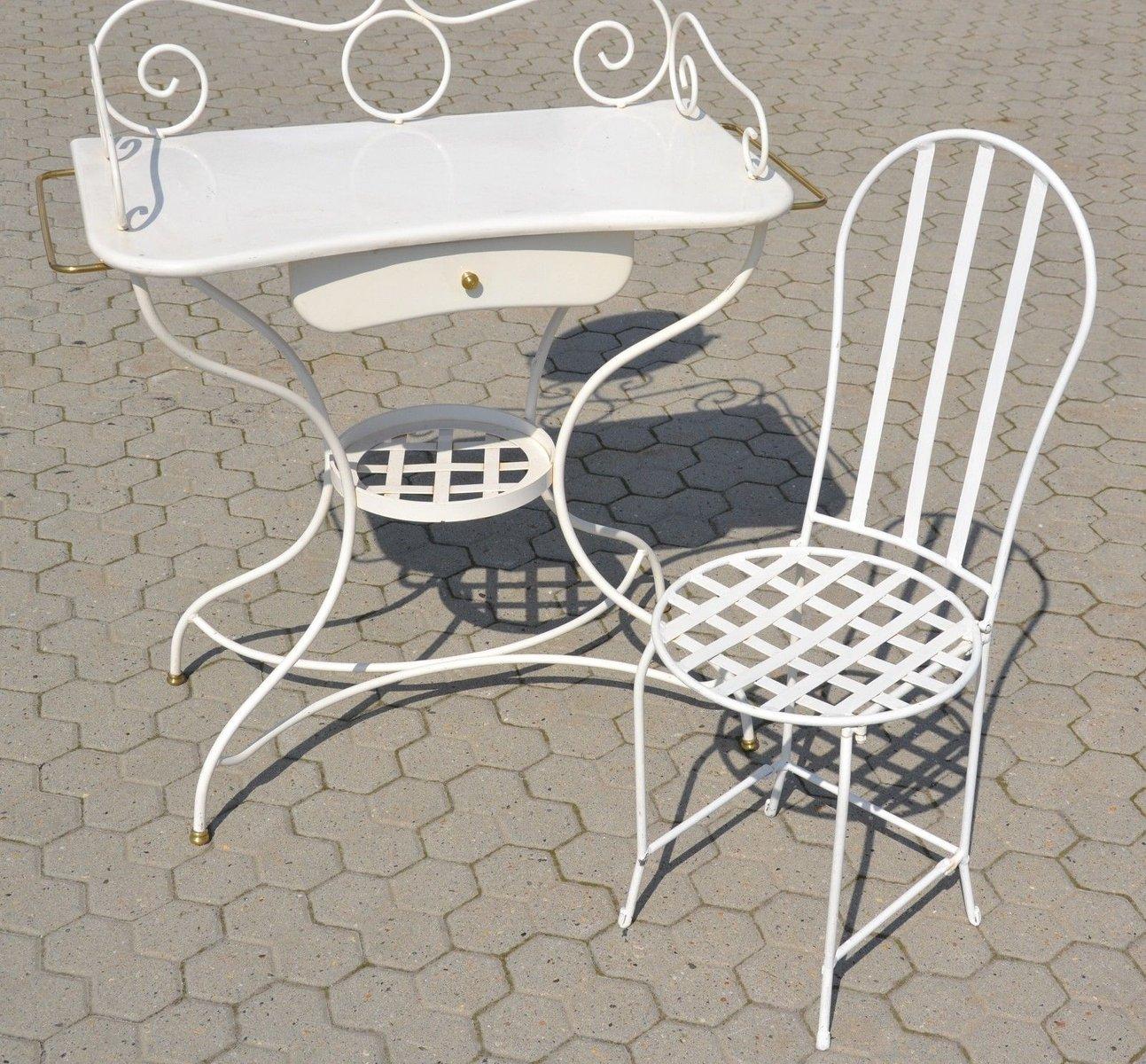 vintage schminktisch aus eisen mit h lzerner schublade bei pamono kaufen. Black Bedroom Furniture Sets. Home Design Ideas
