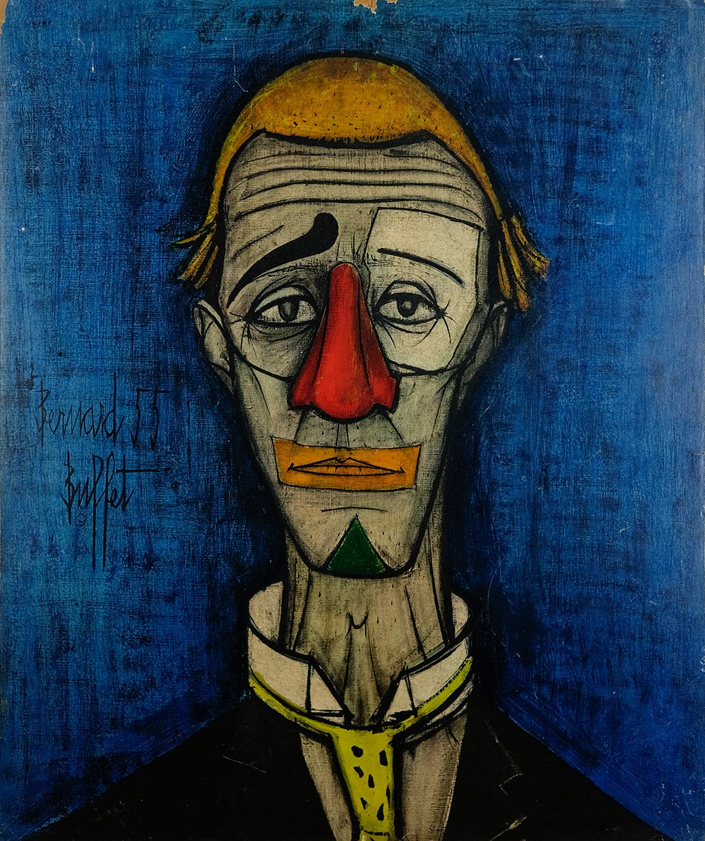 Sensational Art Print On Wood Of The Painting Tete De Clown By Bernard Buffet 1970S Interior Design Ideas Apansoteloinfo