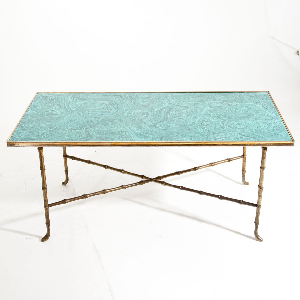 Vintage Coffee Table with Malachite Top