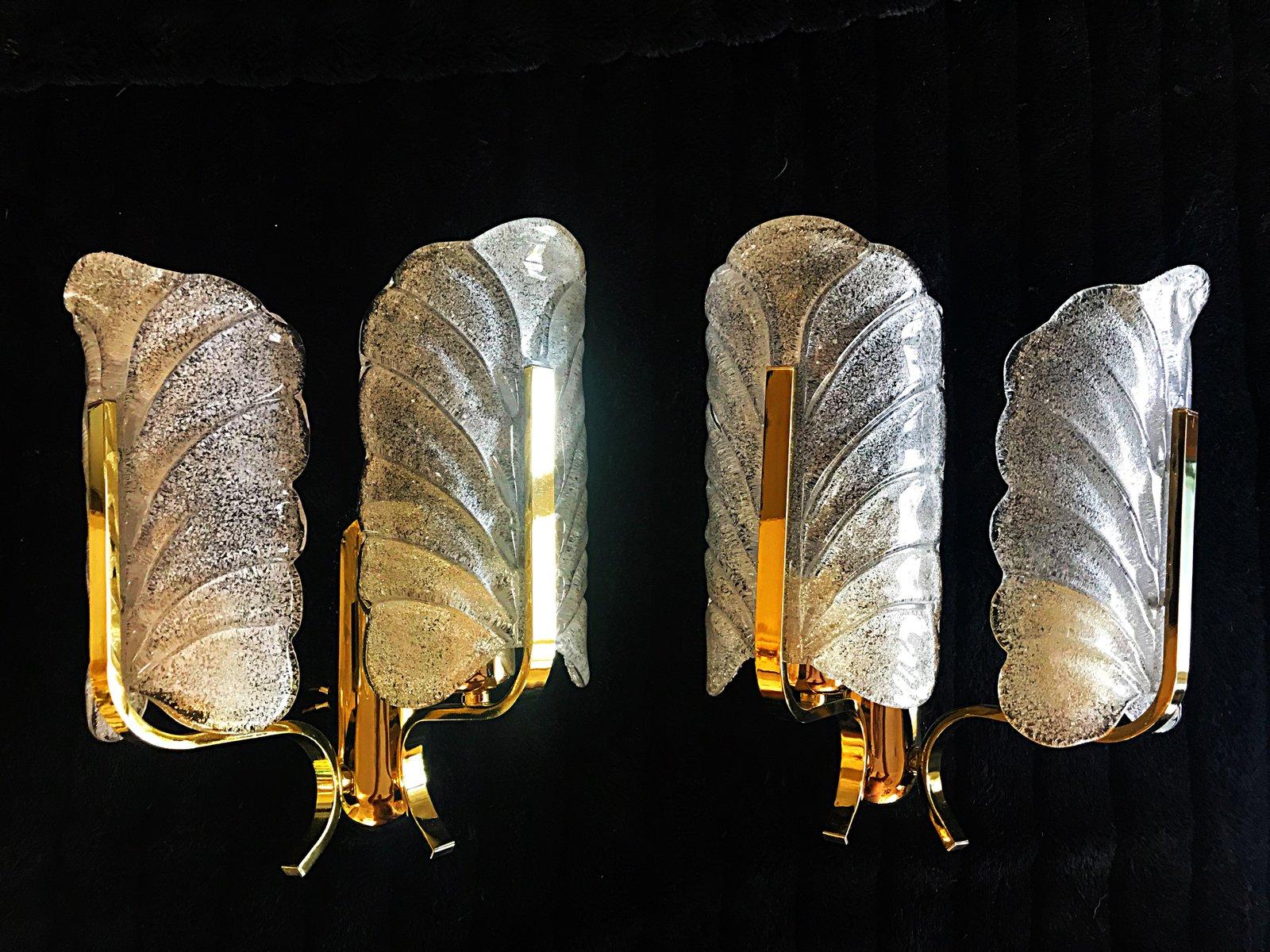 Wandlampen mit vergoldetem Gehäuse von Carl Fagerlund, 1970er, 2er Set