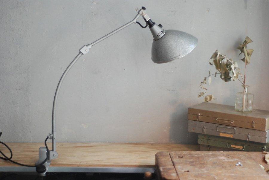 Graue Modell 126 Schreibtisch-Gelenklampe von Curt Fischer für Midgard