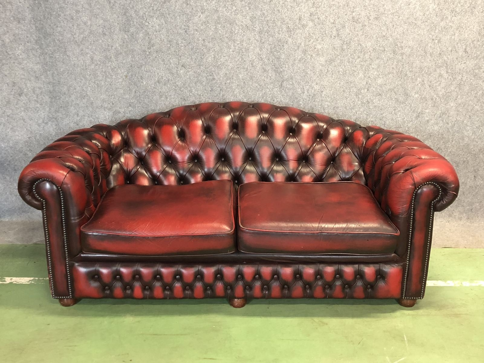 Three Seater Red Chesterfield Sofa 1970s