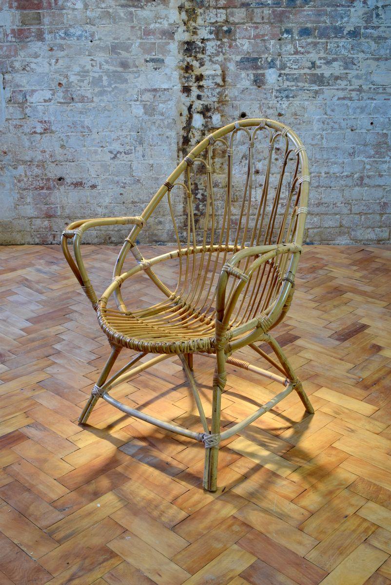 Sessel aus Bambusgeflecht, 1960er