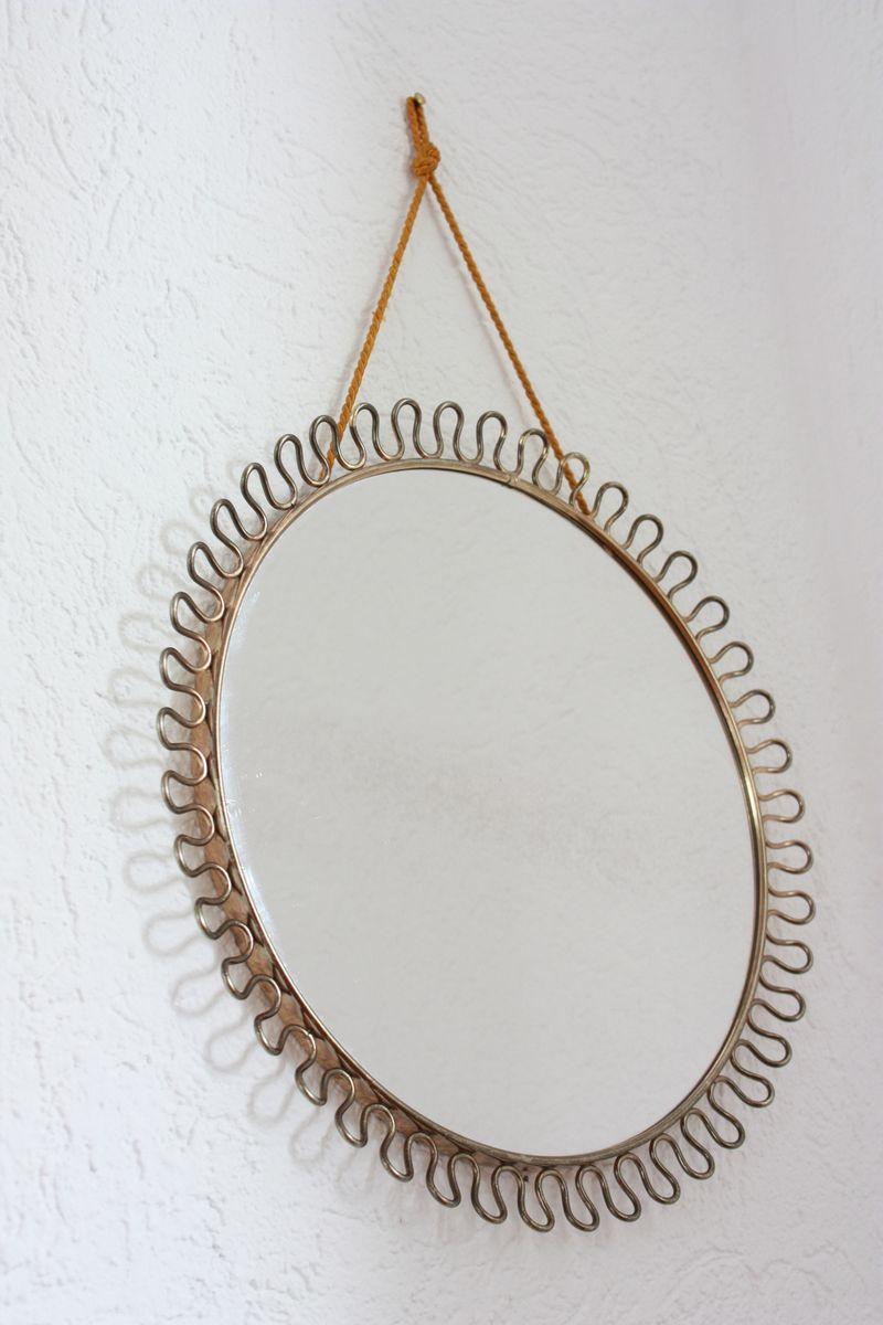 Runder mid century spiegel mit messingrahmen von josef for Spiegel mit messingrahmen