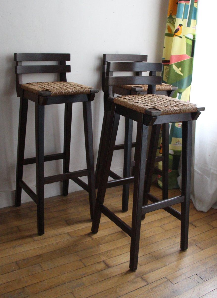 vintage barhocker aus holz geflochtener papierkordel bei pamono kaufen. Black Bedroom Furniture Sets. Home Design Ideas