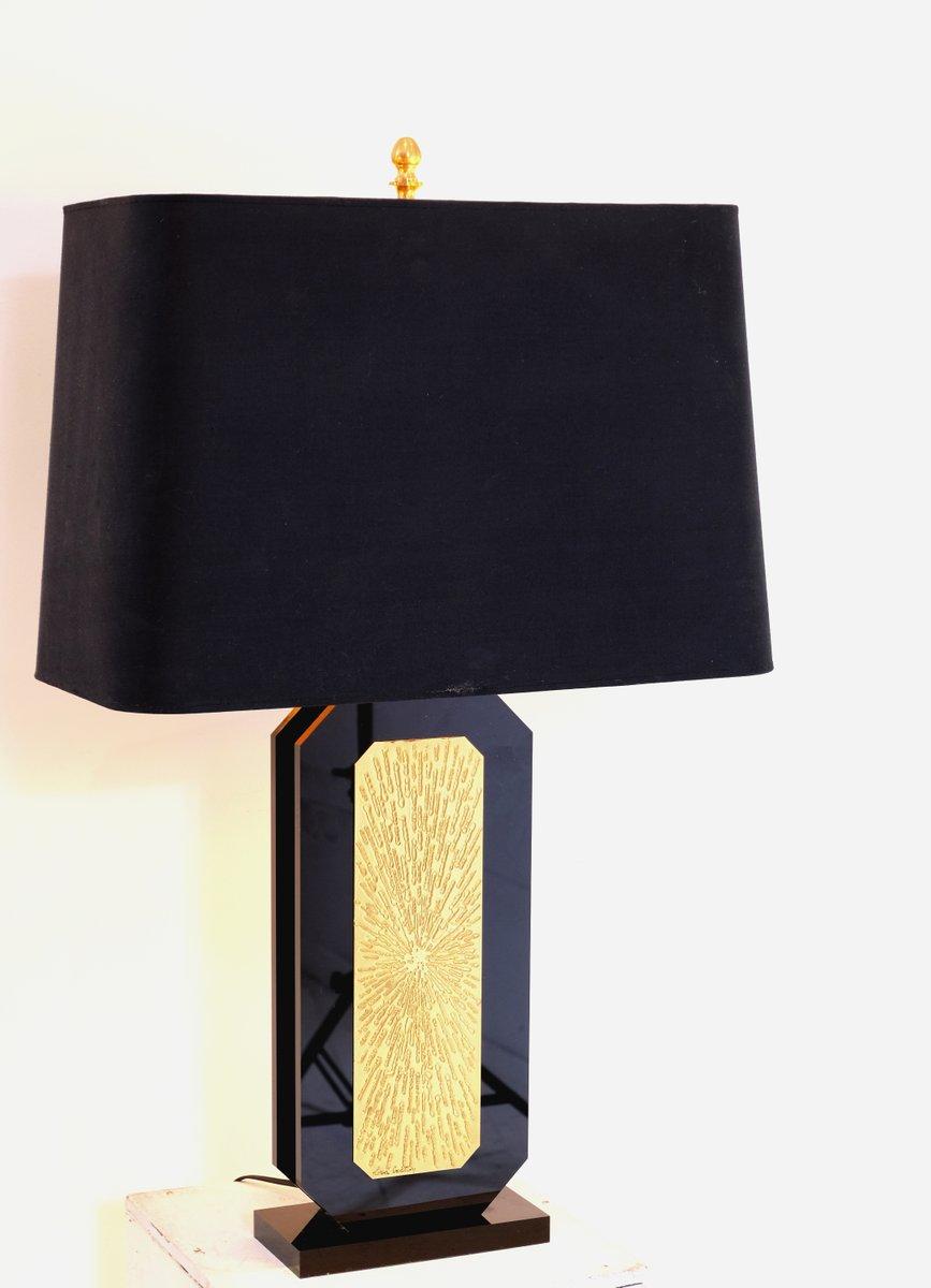 Tischlampe aus schwarzem Plexiglas & graviertem vergoldetem Messing vo...