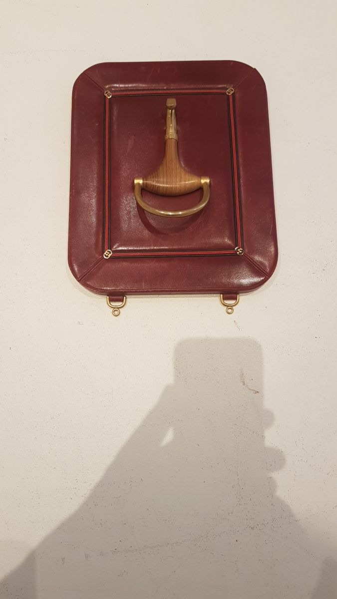 Wood Brass Amp Leather Coat Hanger From Gucci 1960s For