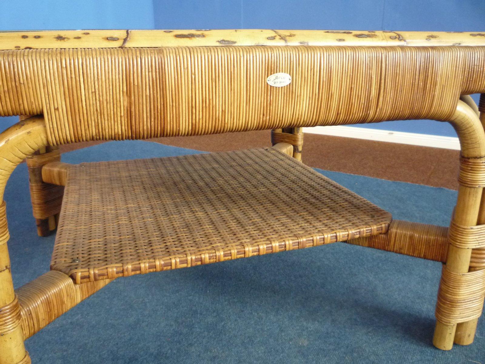 Couchtisch aus rattan bambus keramik von arco 1940er - Bambus couchtisch ...