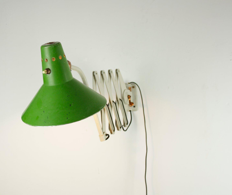 Vintage Scherenlampe mit grünem Hexenhut von Helo Leuchten, 1940er