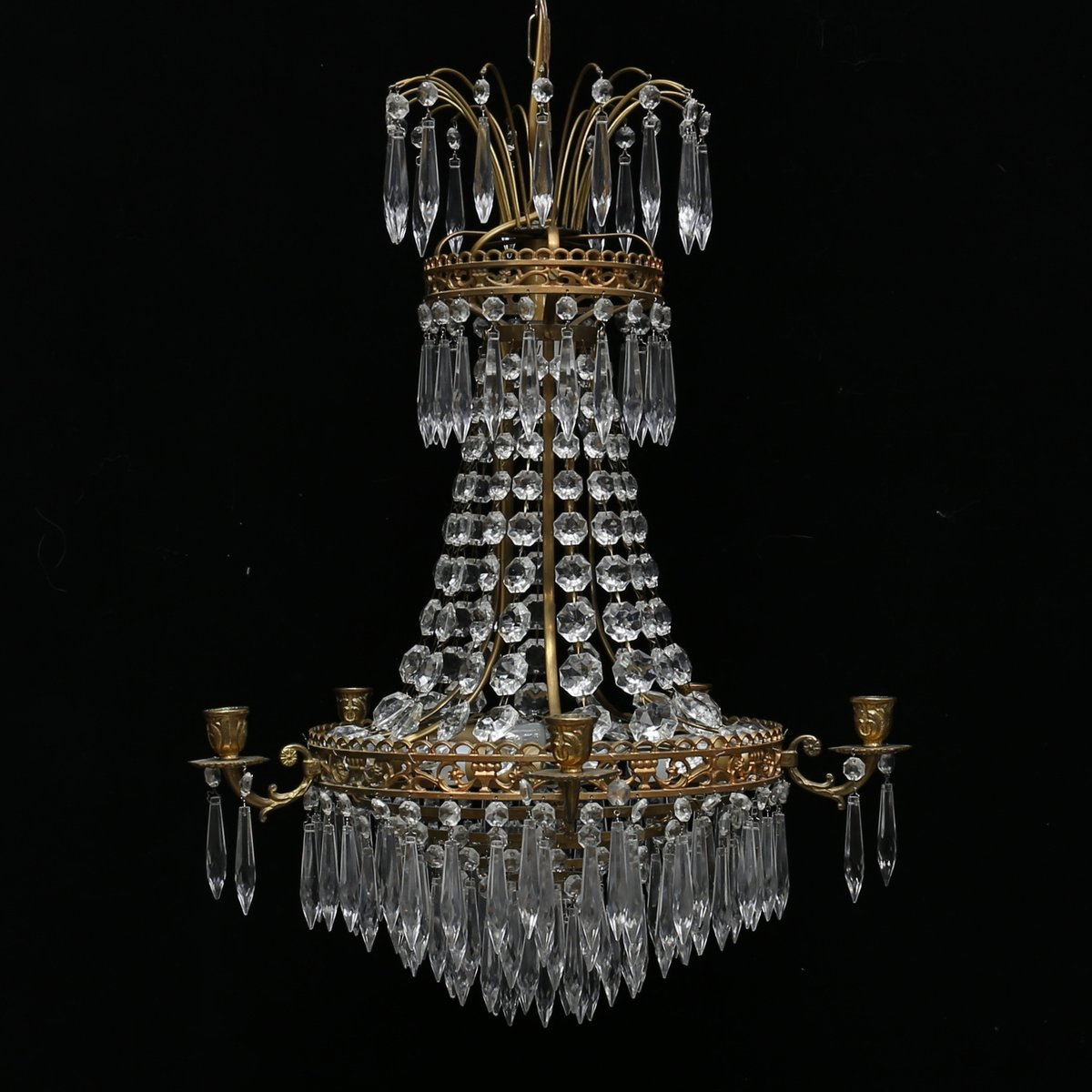 Antique swedish prism chandelier for sale at pamono antique swedish prism chandelier aloadofball Gallery
