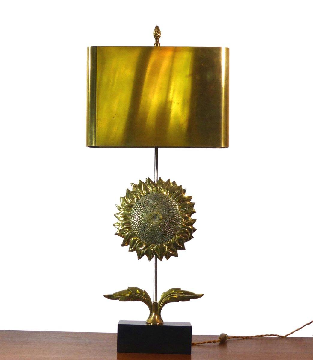 Vergoldete Tischlampe in Sonnenblumen-Optik von Chrystiane Charles für...