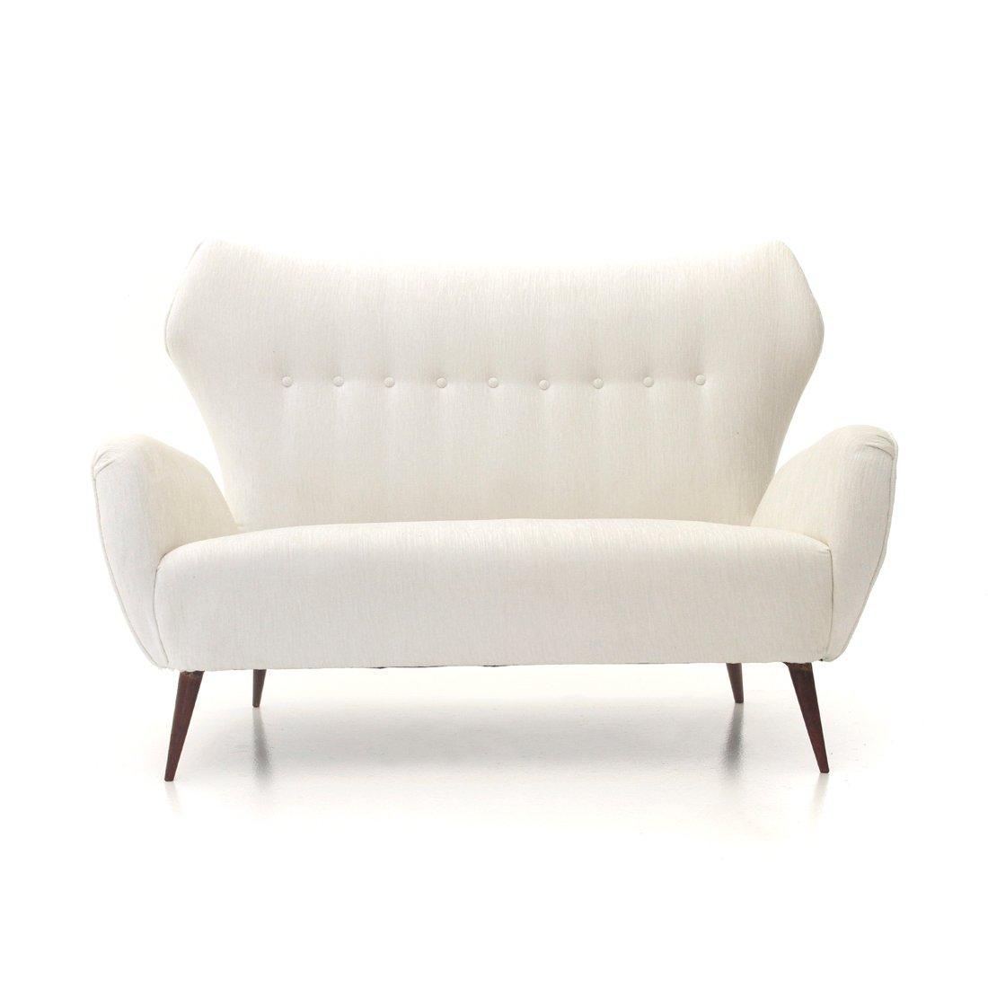 Modernes italienisches 2-Sitzer Sofa in weißem Samt, 1940er
