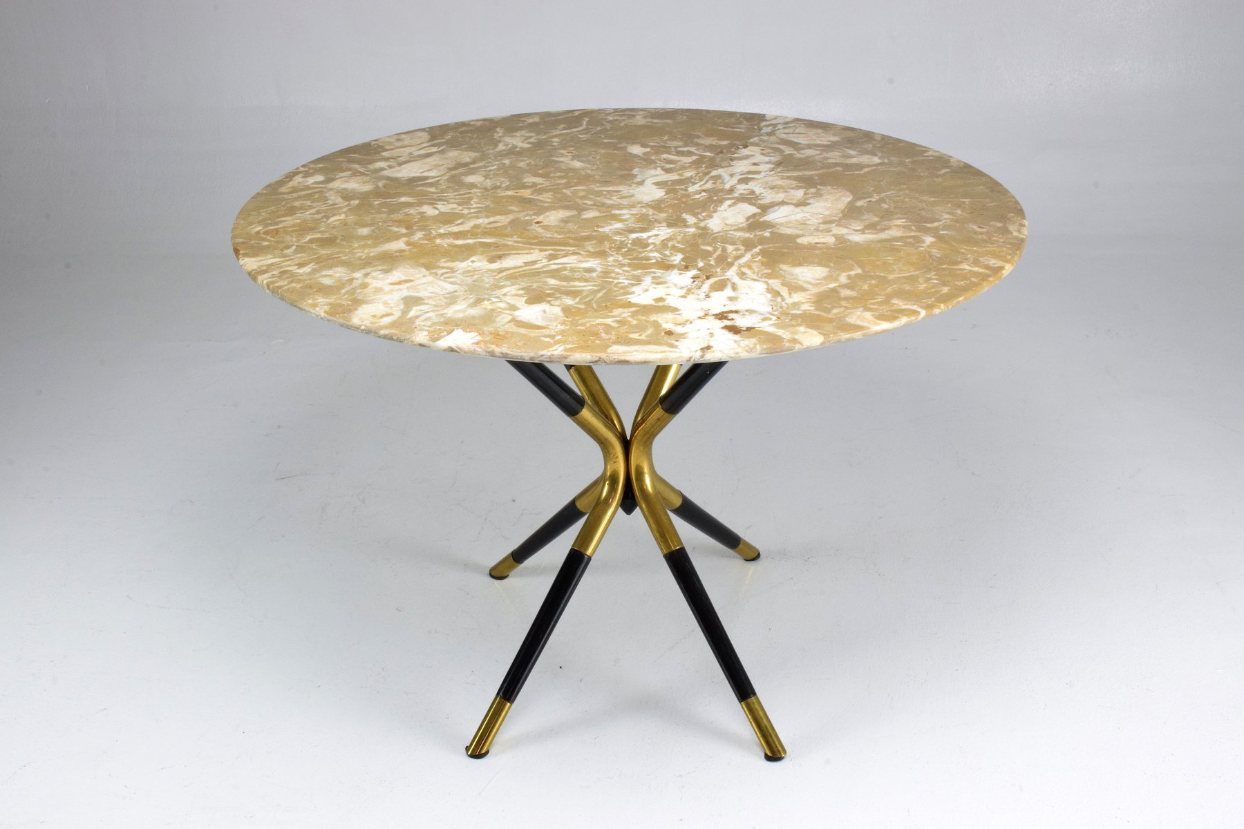 Tavolo rotondo vintage in marmo di cesare lacca italia anni