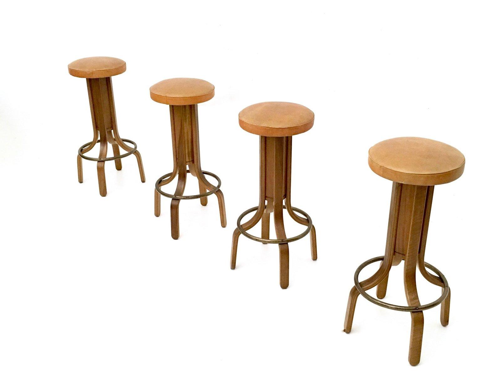 Camel Colored Leather Amp Walnut Plywood Swivel Stools