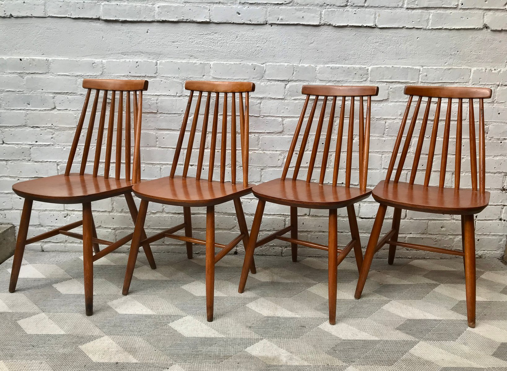 Vintage Wooden Dining Chairs Set Of 4