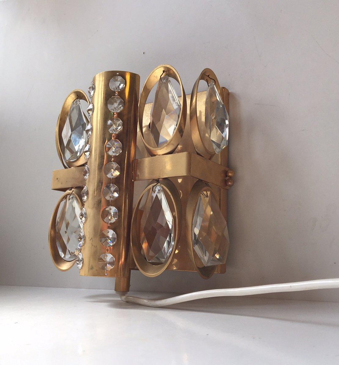 Moderne dänische vergoldete Vintage Wandlampe aus Kristallglas, 1970er